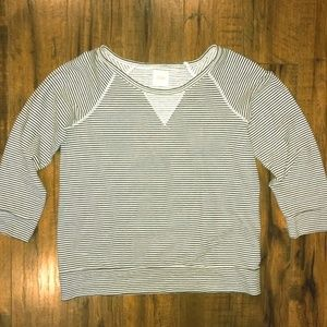 Madewell Striped Hi-Line Fleece Top Size Large